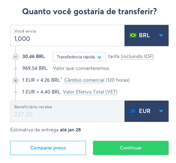 Simulação de conversão de Real para Euro feita em 24/01/19